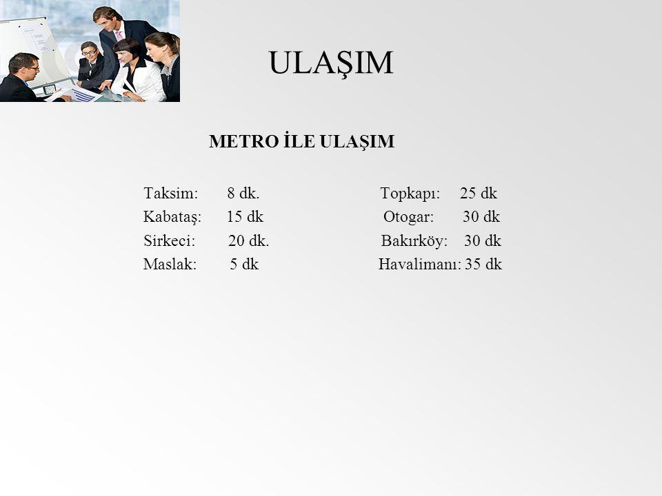 ULAŞIM METRO İLE ULAŞIM Taksim: 8 dk. Topkapı: 25 dk