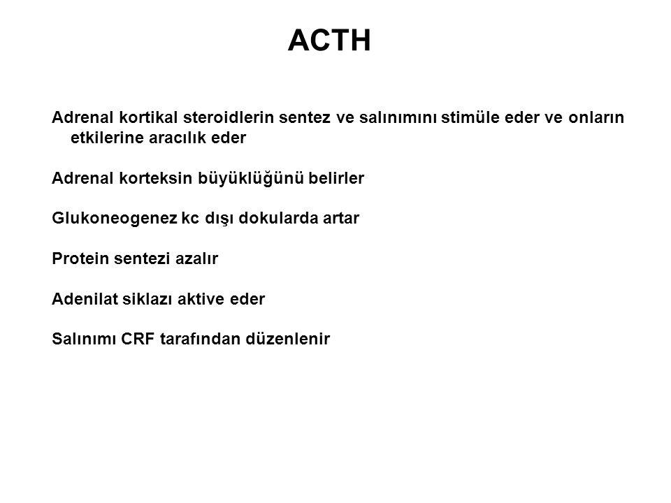ACTH Adrenal kortikal steroidlerin sentez ve salınımını stimüle eder ve onların. etkilerine aracılık eder.