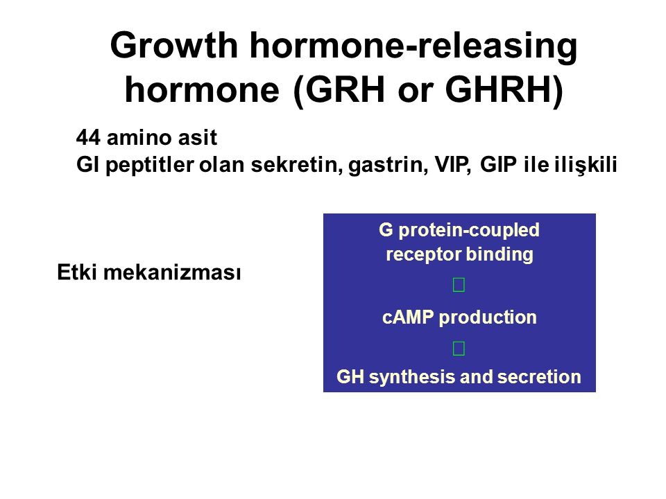 Growth hormone-releasing hormone (GRH or GHRH)
