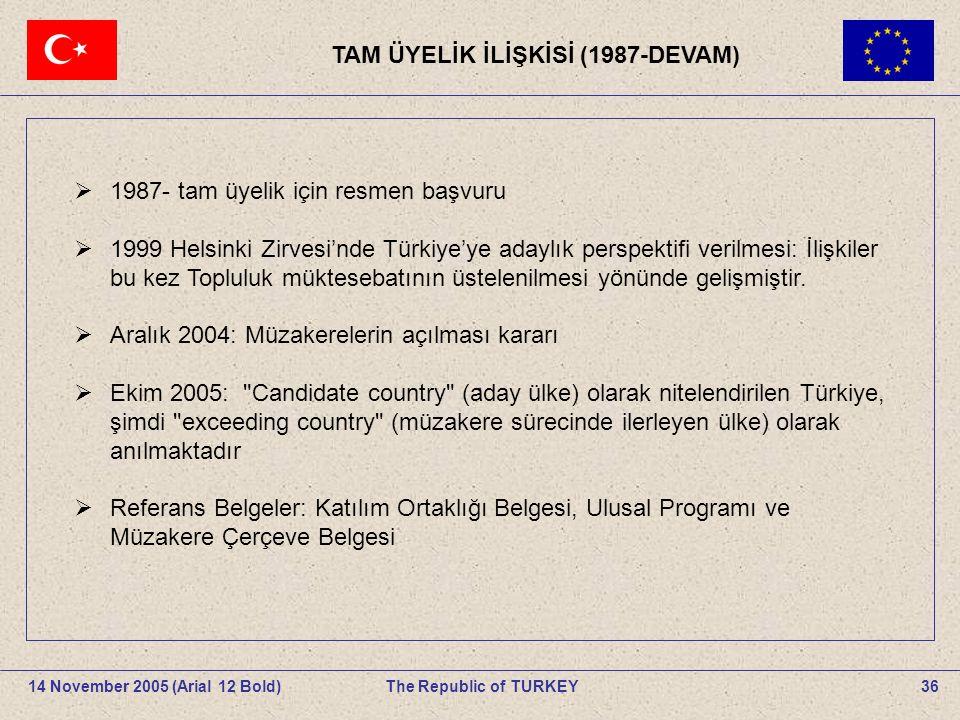 . TAM ÜYELİK İLİŞKİSİ (1987-DEVAM)