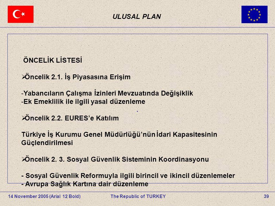 . ULUSAL PLAN ÖNCELİK LİSTESİ Öncelik 2.1. İş Piyasasına Erişim