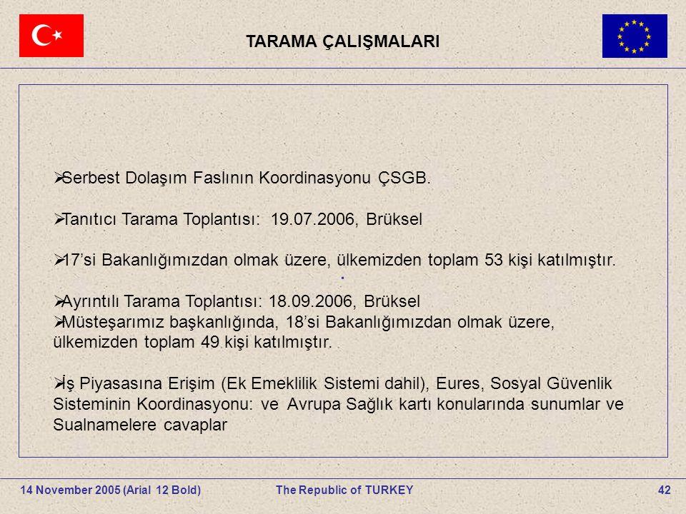 . TARAMA ÇALIŞMALARI Serbest Dolaşım Faslının Koordinasyonu ÇSGB.