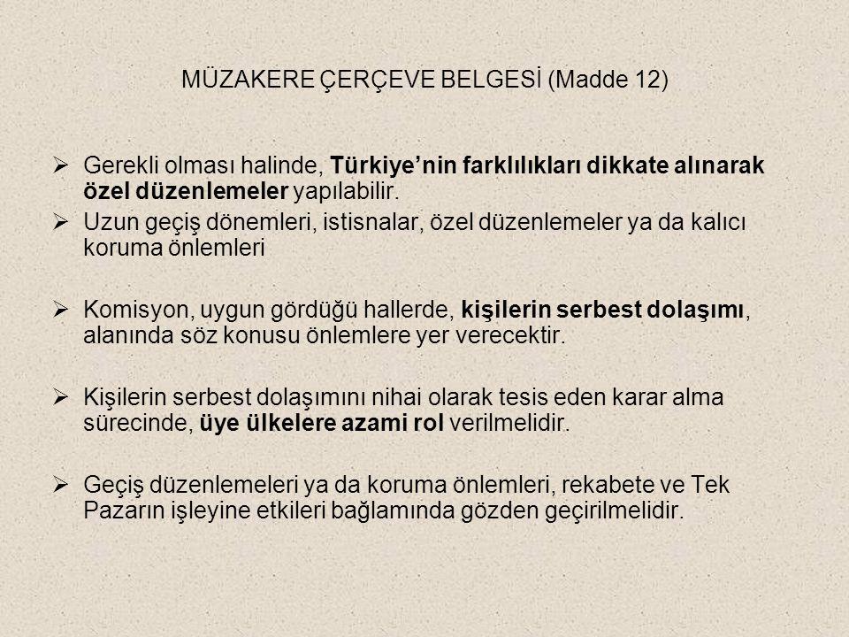 MÜZAKERE ÇERÇEVE BELGESİ (Madde 12)