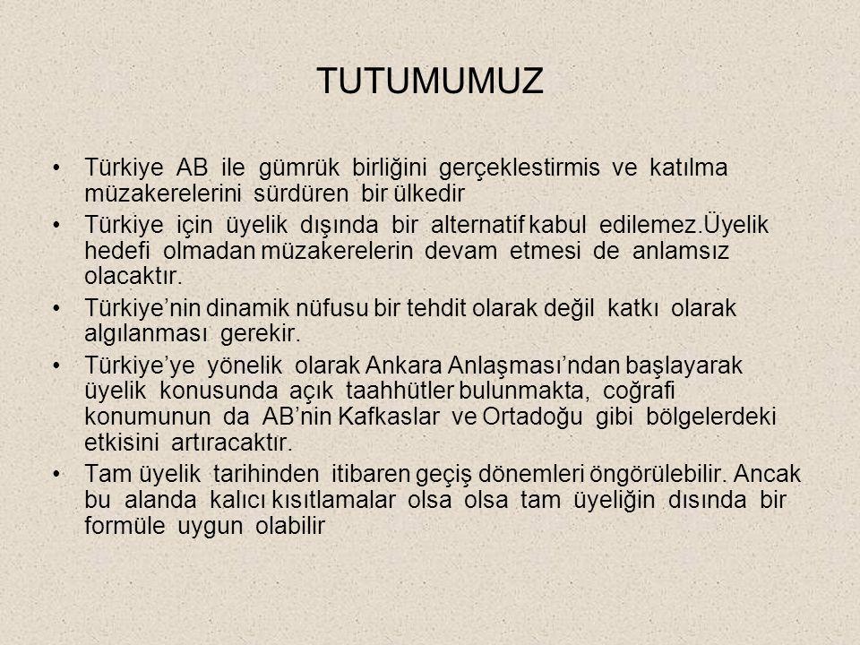 TUTUMUMUZ Türkiye AB ile gümrük birliğini gerçeklestirmis ve katılma müzakerelerini sürdüren bir ülkedir.