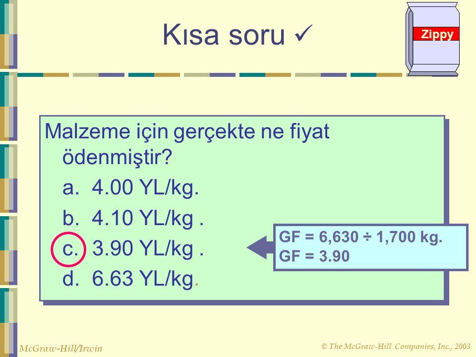 Kısa soru  Malzeme için gerçekte ne fiyat ödenmiştir a. 4.00 YL/kg.