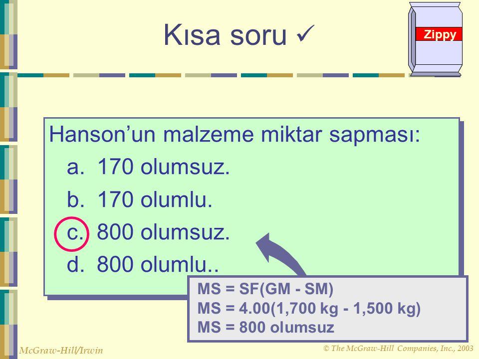 Kısa soru  Hanson'un malzeme miktar sapması: a. 170 olumsuz.