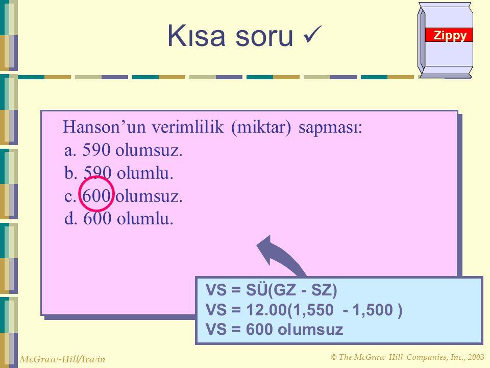 Kısa soru  Hanson'un verimlilik (miktar) sapması: a. 590 olumsuz.