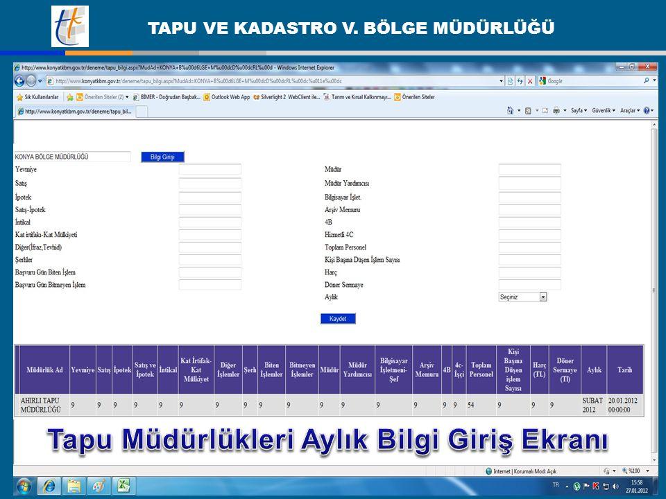 Tapu Müdürlükleri Aylık Bilgi Giriş Ekranı