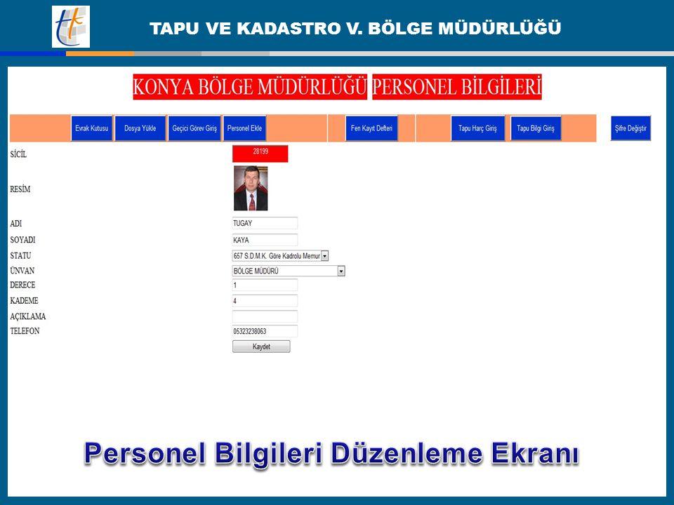 Personel Bilgileri Düzenleme Ekranı