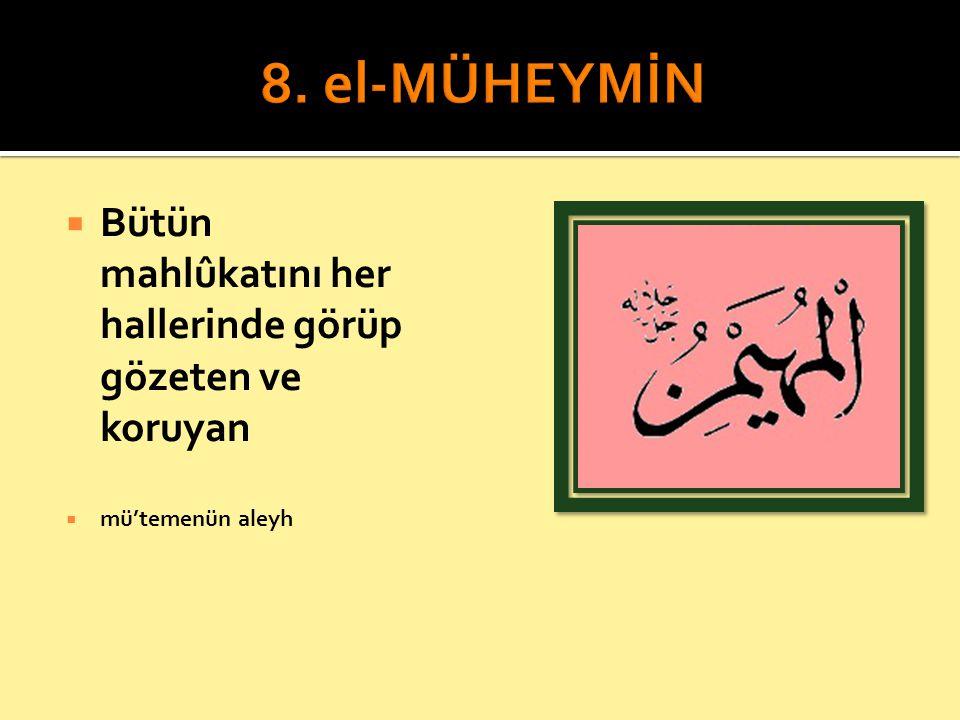 8. el-MÜHEYMİN Bütün mahlûkatını her hallerinde görüp gözeten ve koruyan mü'temenün aleyh