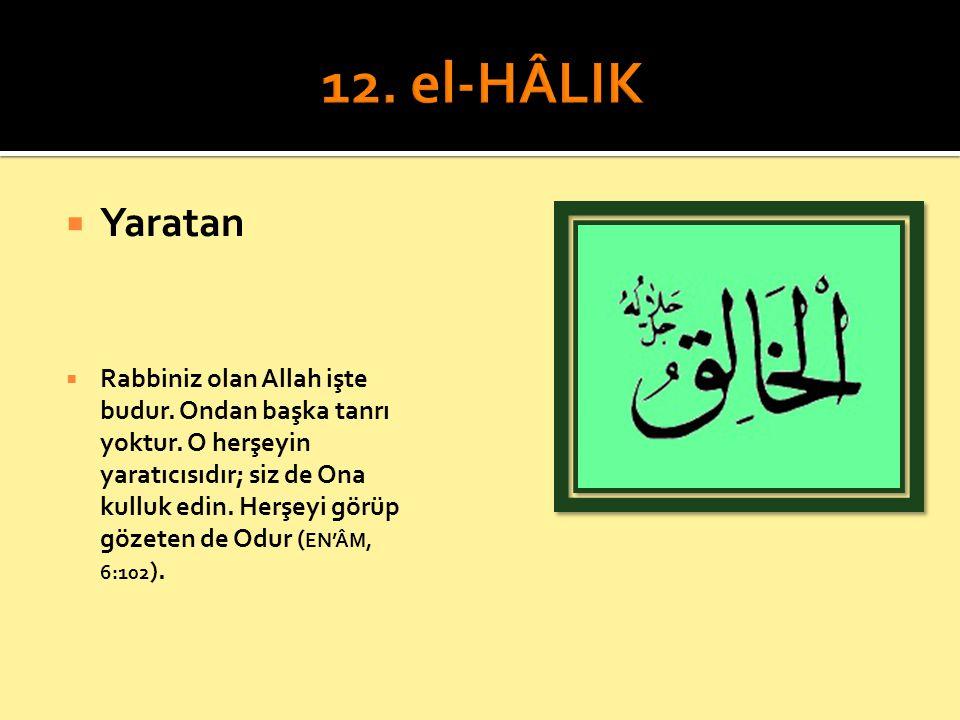 12. el-HÂLIK Yaratan.