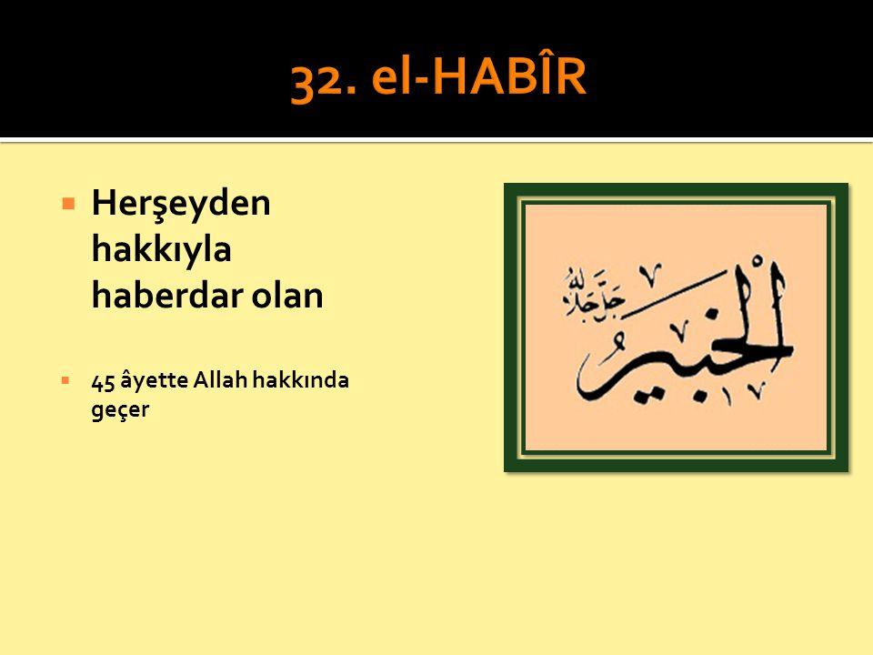 32. el-HABÎR Herşeyden hakkıyla haberdar olan