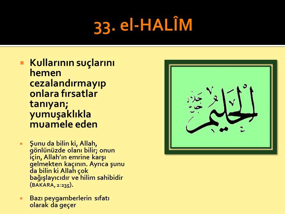 33. el-HALÎM Kullarının suçlarını hemen cezalandırmayıp onlara fırsatlar tanıyan; yumuşaklıkla muamele eden.