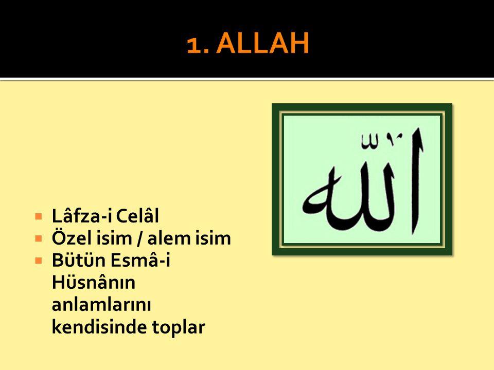 1. ALLAH Lâfza-i Celâl Özel isim / alem isim