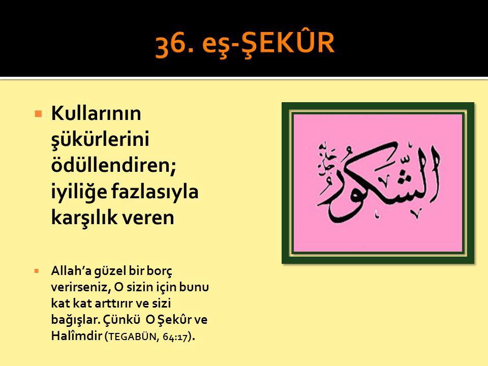 36. eş-ŞEKÛR Kullarının şükürlerini ödüllendiren; iyiliğe fazlasıyla karşılık veren.