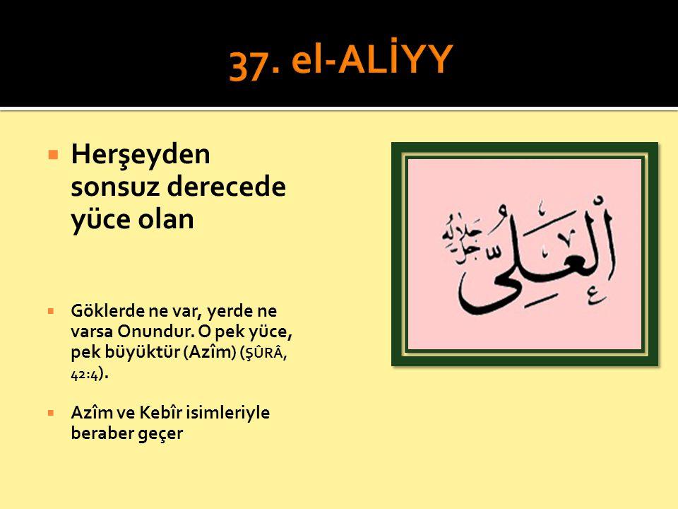 37. el-ALİYY Herşeyden sonsuz derecede yüce olan