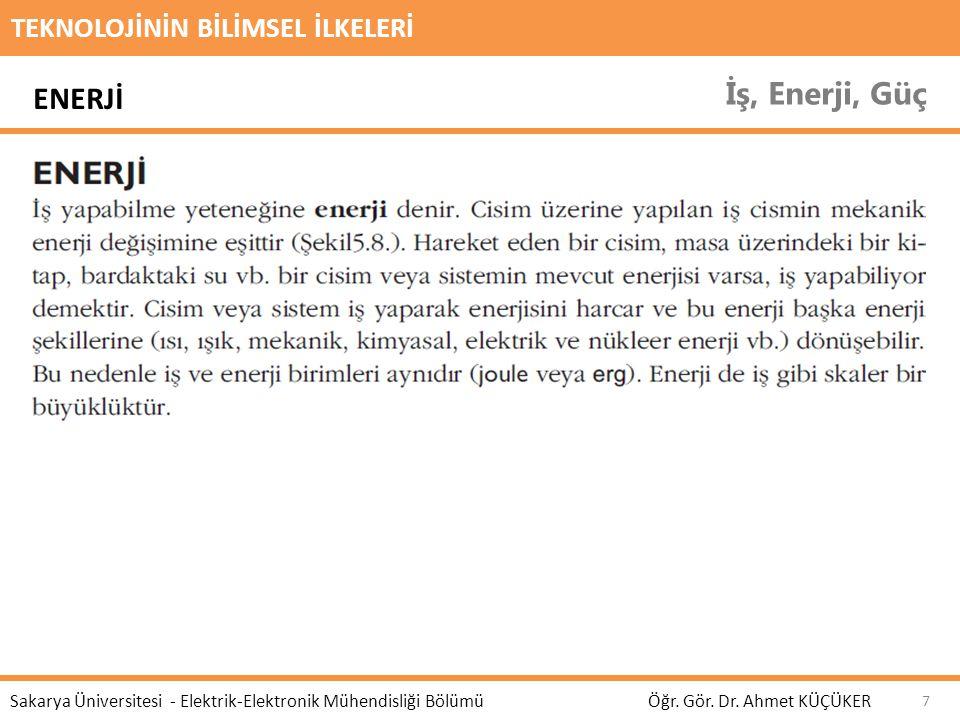 İş, Enerji, Güç ENERJİ TEKNOLOJİNİN BİLİMSEL İLKELERİ