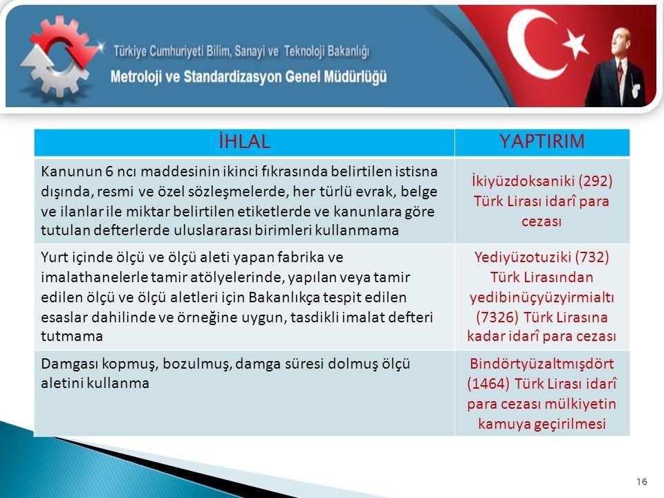 İkiyüzdoksaniki (292) Türk Lirası idarî para cezası