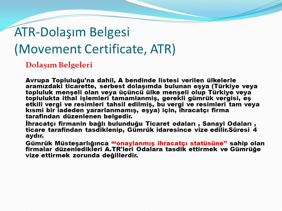 ATR-Dolaşım Belgesi (Movement Certificate, ATR)