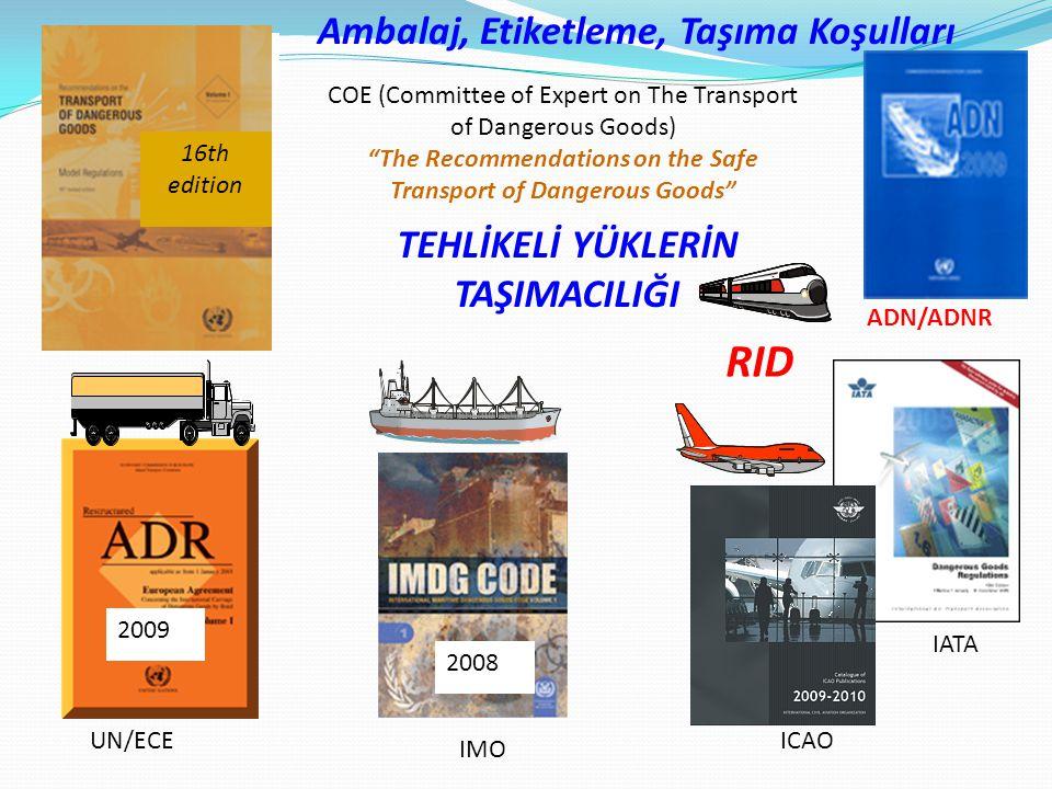 RID Ambalaj, Etiketleme, Taşıma Koşulları