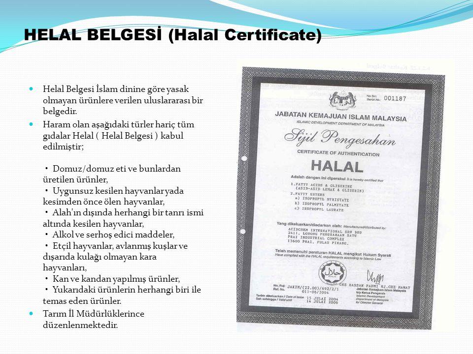 HELAL BELGESİ (Halal Certificate)