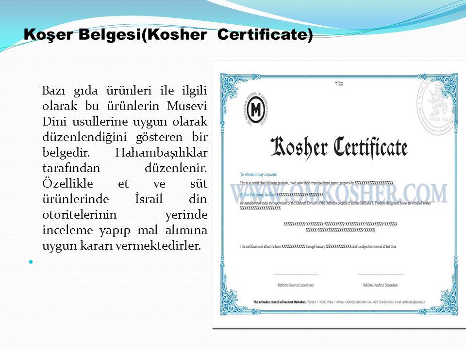 Koşer Belgesi(Kosher Certificate)