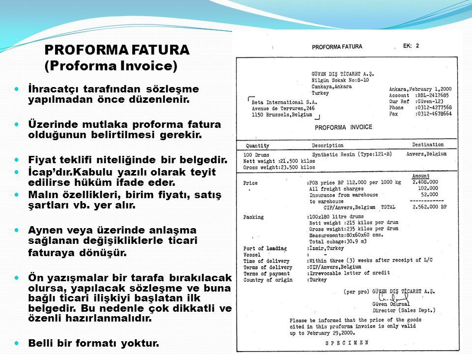 PROFORMA FATURA (Proforma Invoice)