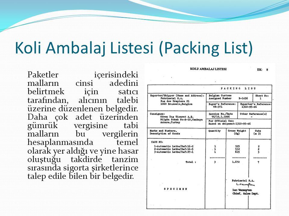 Koli Ambalaj Listesi (Packing List)
