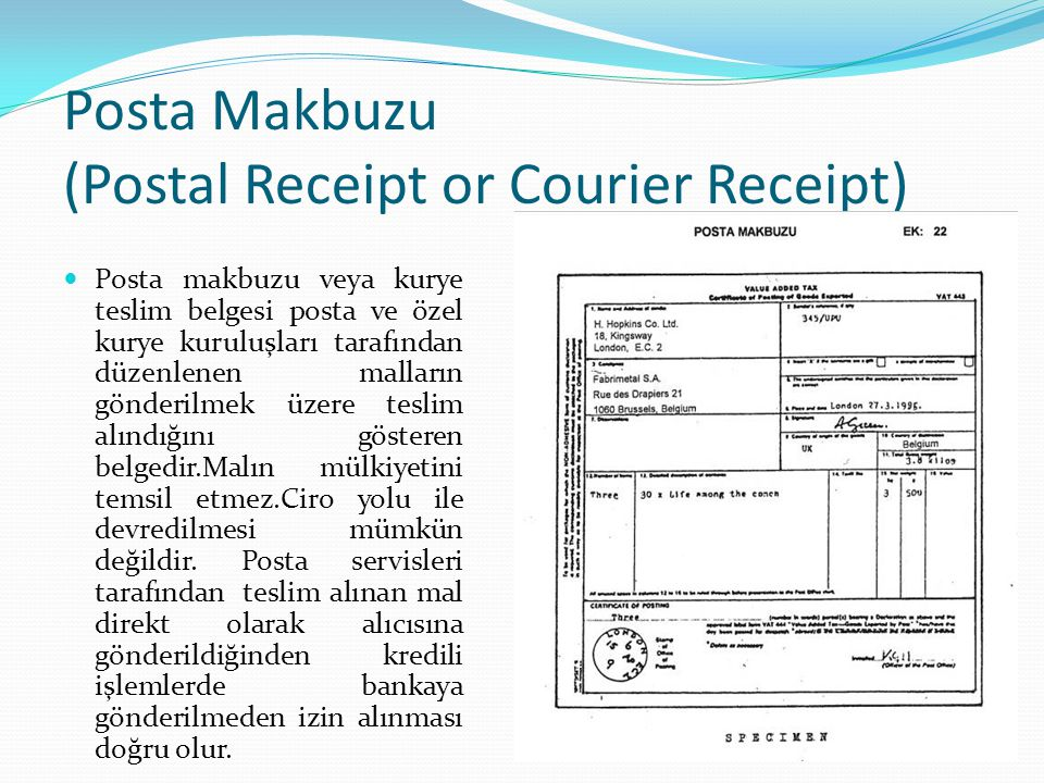 Posta Makbuzu (Postal Receipt or Courier Receipt)