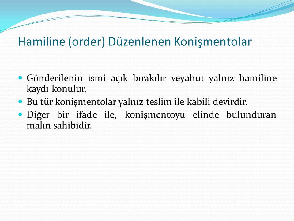 Hamiline (order) Düzenlenen Konişmentolar