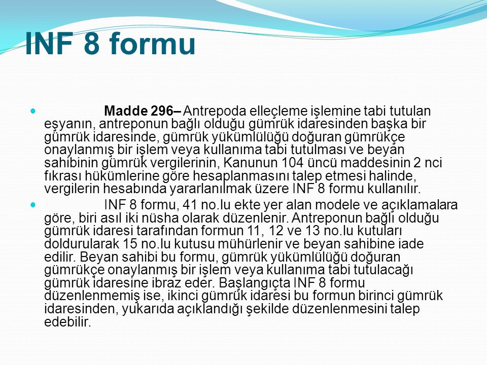 INF 8 formu