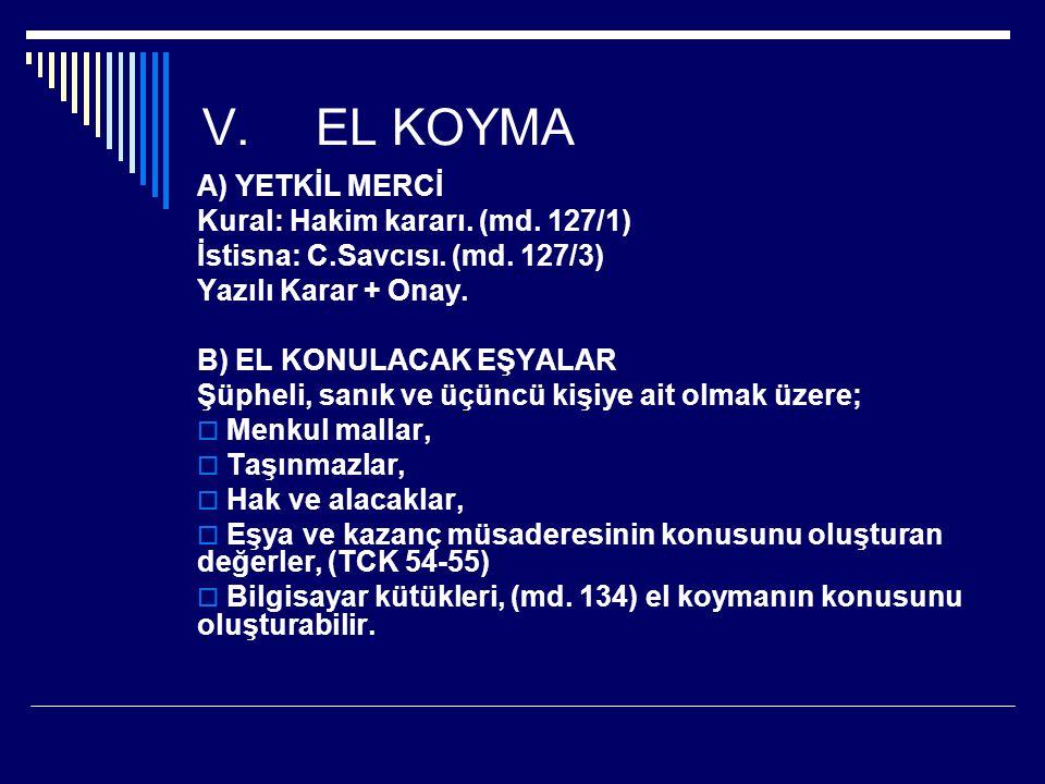EL KOYMA A) YETKİL MERCİ Kural: Hakim kararı. (md. 127/1)