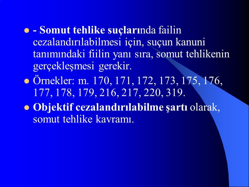 - Somut tehlike suçlarında failin cezalandırılabilmesi için, suçun kanuni tanımındaki fiilin yanı sıra, somut tehlikenin gerçekleşmesi gerekir.