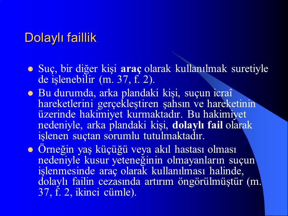 Dolaylı faillik Suç, bir diğer kişi araç olarak kullanılmak suretiyle de işlenebilir (m. 37, f. 2).