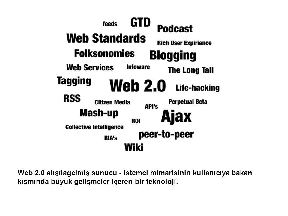 Web 2.0 alışılagelmiş sunucu - istemci mimarisinin kullanıcıya bakan kısmında büyük gelişmeler içeren bir teknoloji.