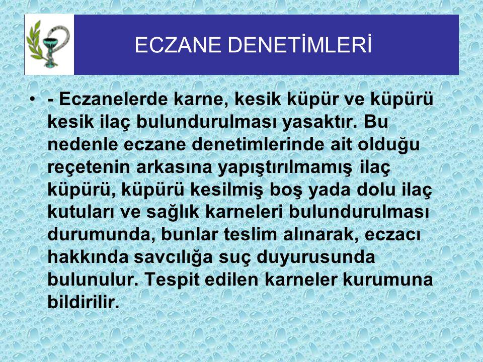 ECZANE DENETİMLERİ