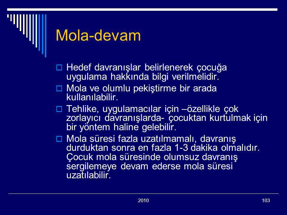 Mola-devam Hedef davranışlar belirlenerek çocuğa uygulama hakkında bilgi verilmelidir. Mola ve olumlu pekiştirme bir arada kullanılabilir.