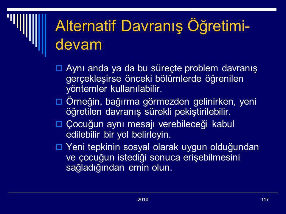 Alternatif Davranış Öğretimi-devam