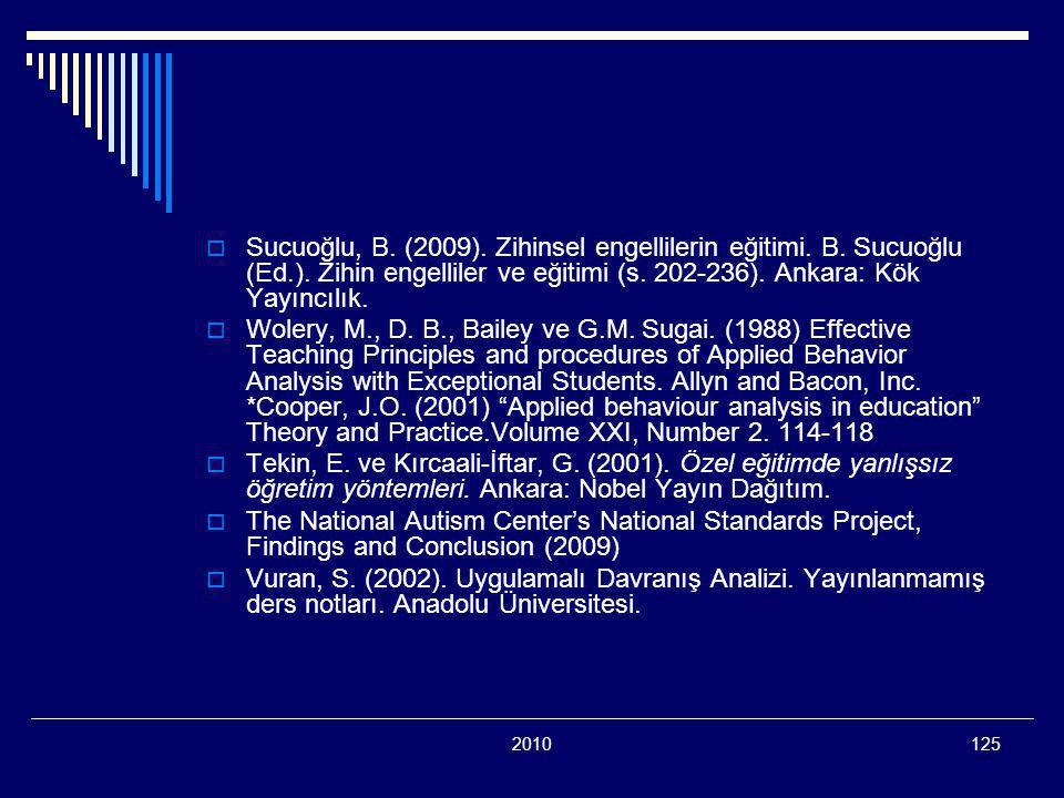Sucuoğlu, B. (2009). Zihinsel engellilerin eğitimi. B. Sucuoğlu (Ed. )