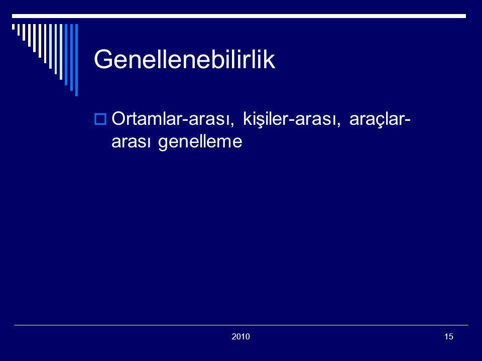 Genellenebilirlik Ortamlar-arası, kişiler-arası, araçlar-arası genelleme 2010