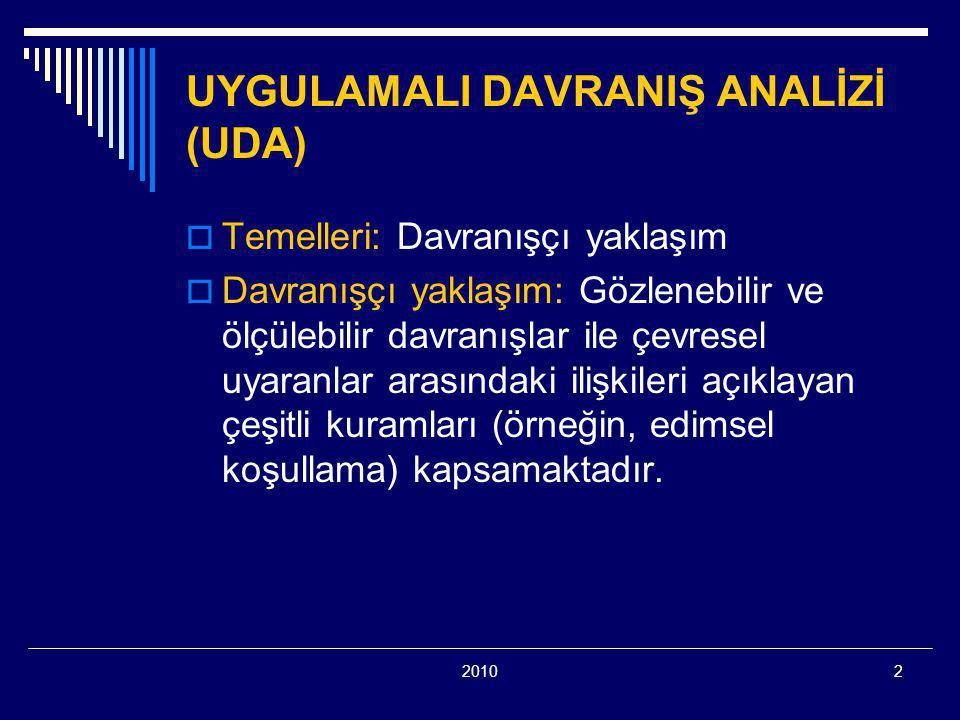 UYGULAMALI DAVRANIŞ ANALİZİ (UDA)