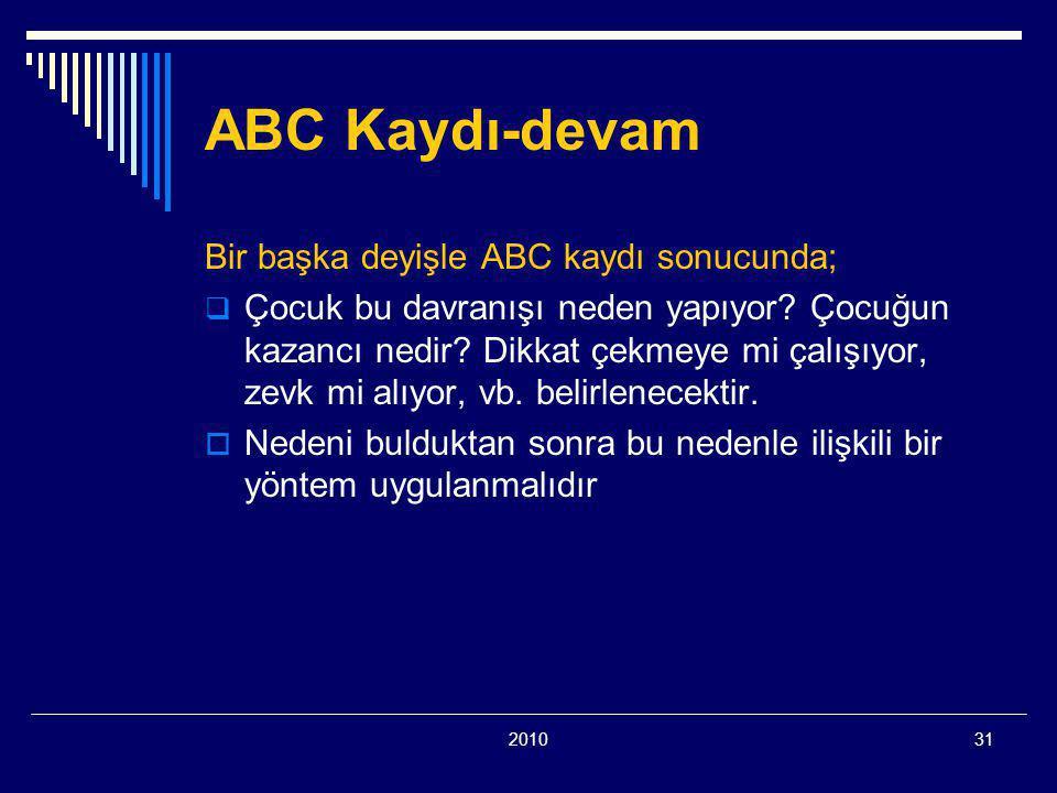 ABC Kaydı-devam Bir başka deyişle ABC kaydı sonucunda;