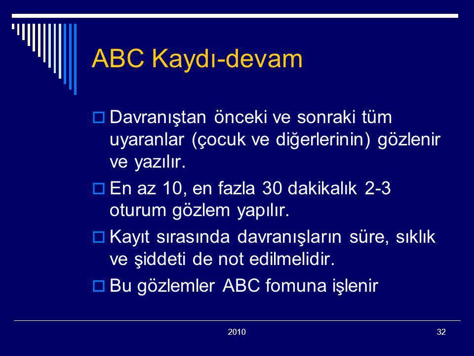 ABC Kaydı-devam Davranıştan önceki ve sonraki tüm uyaranlar (çocuk ve diğerlerinin) gözlenir ve yazılır.