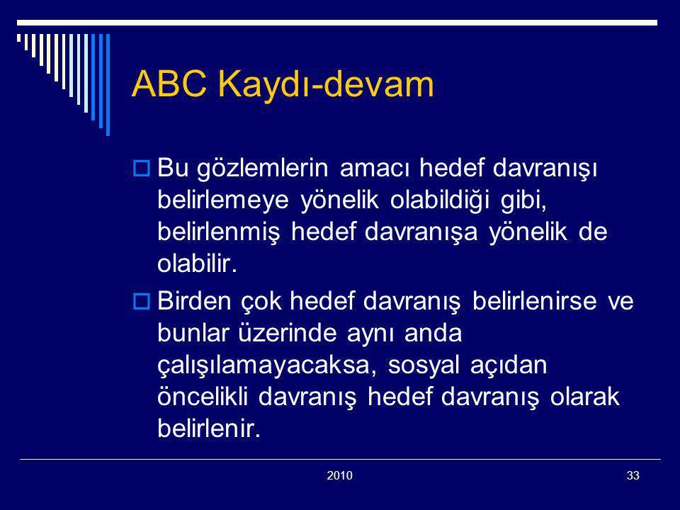 ABC Kaydı-devam Bu gözlemlerin amacı hedef davranışı belirlemeye yönelik olabildiği gibi, belirlenmiş hedef davranışa yönelik de olabilir.