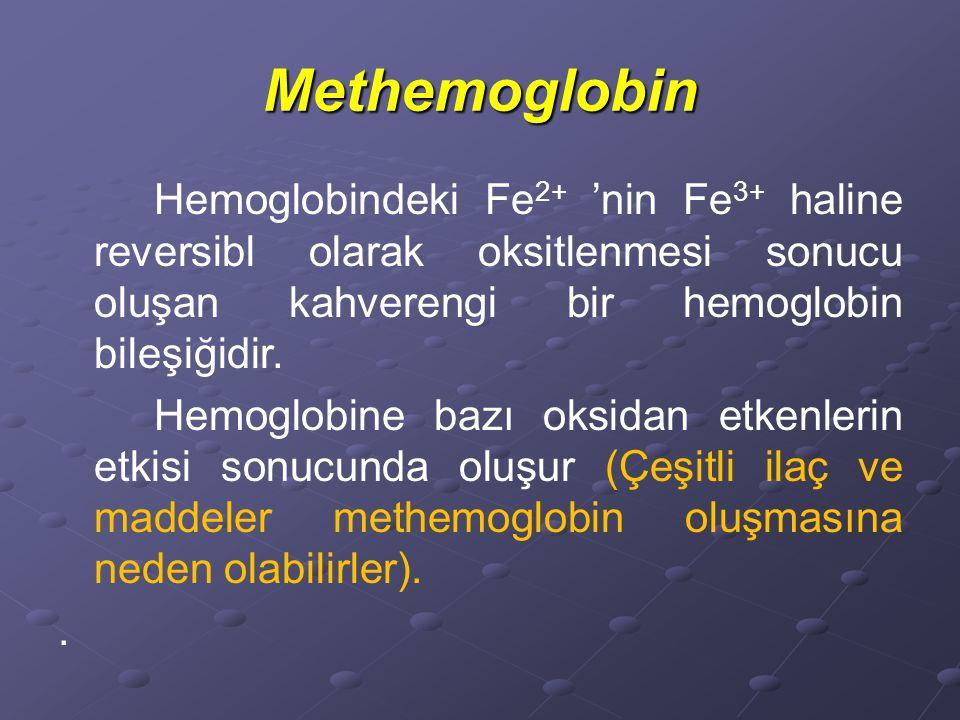 Methemoglobin Hemoglobindeki Fe2+ 'nin Fe3+ haline reversibl olarak oksitlenmesi sonucu oluşan kahverengi bir hemoglobin bileşiğidir.
