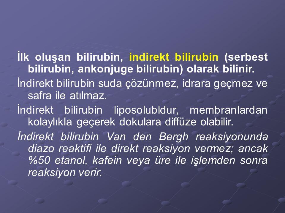 İlk oluşan bilirubin, indirekt bilirubin (serbest bilirubin, ankonjuge bilirubin) olarak bilinir.