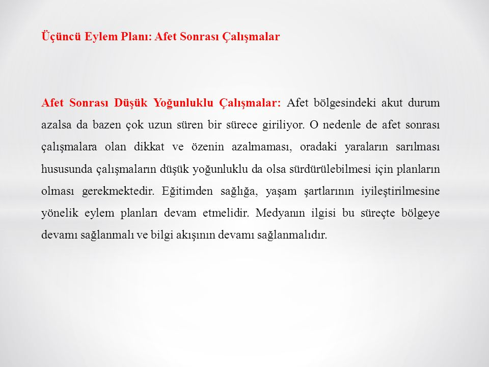 Üçüncü Eylem Planı: Afet Sonrası Çalışmalar