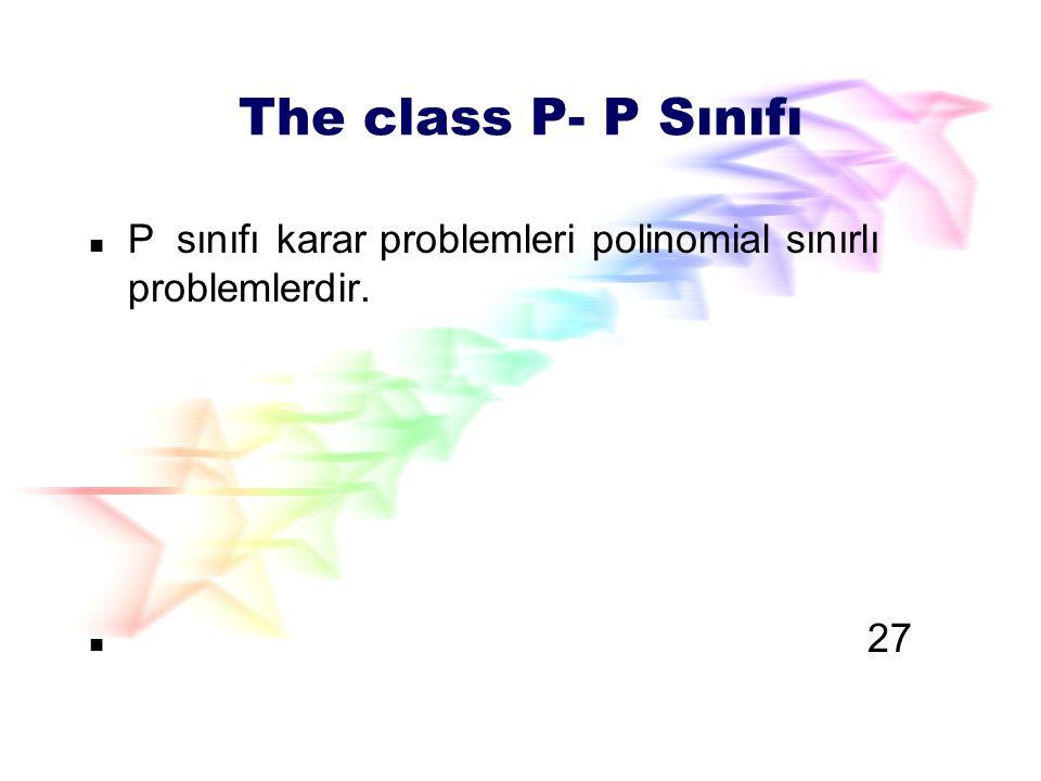 The class P- P Sınıfı P sınıfı karar problemleri polinomial sınırlı problemlerdir. 27