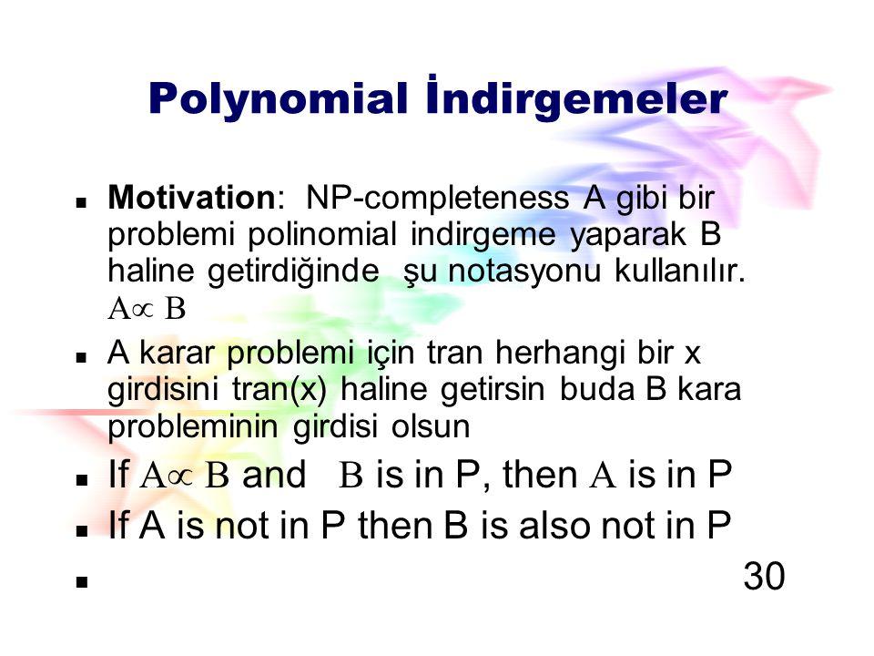 Polynomial İndirgemeler