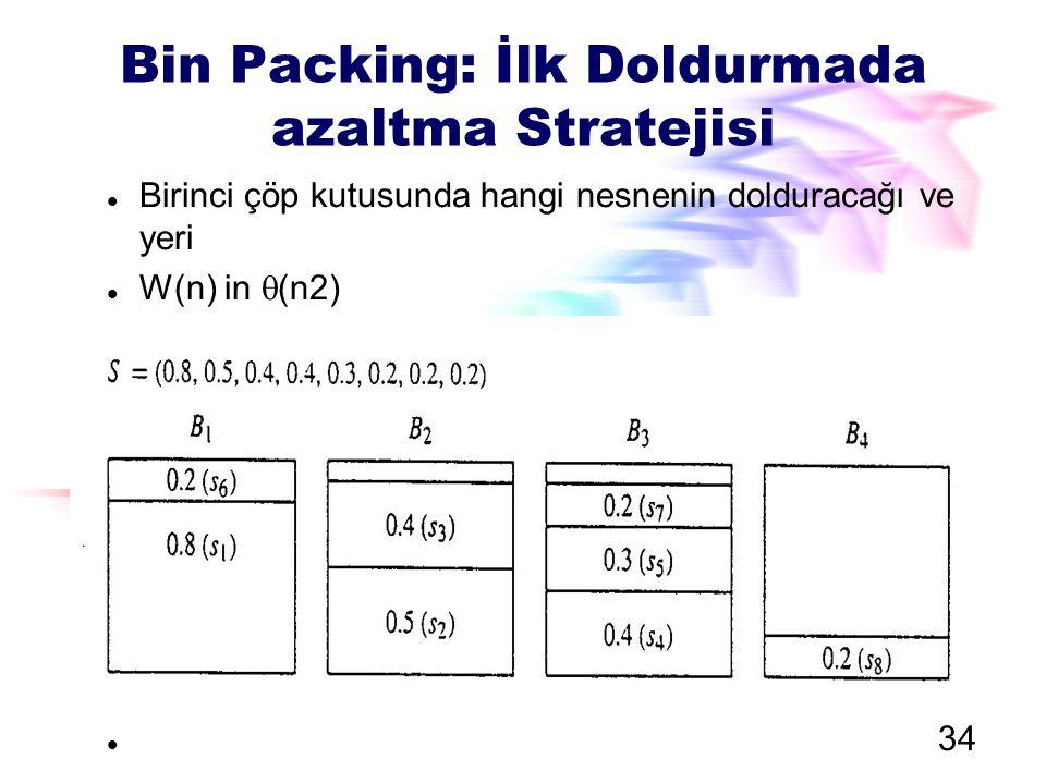 Bin Packing: İlk Doldurmada azaltma Stratejisi